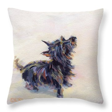 Tail Wagging Fury Throw Pillow by Kimberly Santini