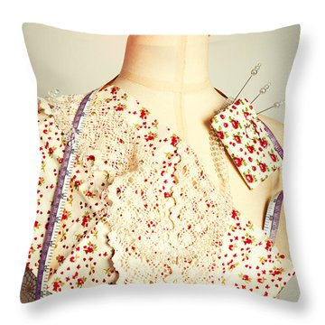 Tailors Dummy With Colour Swatches Throw Pillow
