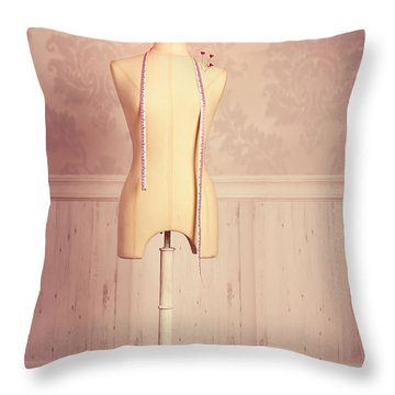 Tailors Dummy With Tape Measure Throw Pillow