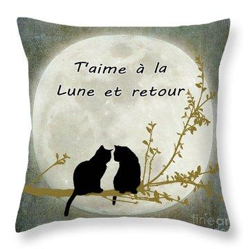 Throw Pillow featuring the digital art T'aime A La Lune Et Retour by Linda Lees