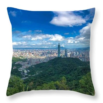Throw Pillow featuring the photograph Taipei Panorama by Brian Eberly