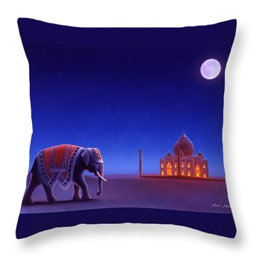 Taj Mahal Elephant Throw Pillow