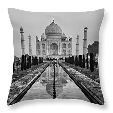 Taj Mahal In Black And White Throw Pillow
