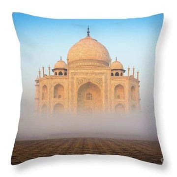 Taj Mahal In The Mist Throw Pillow by Inge Johnsson