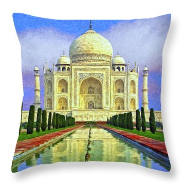 Taj Mahal Morning Throw Pillow by Dominic Piperata