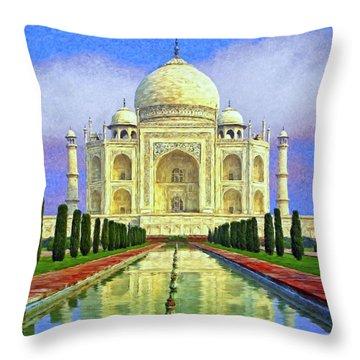Taj Mahal Morning Throw Pillow