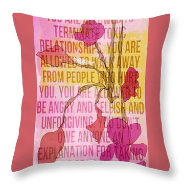 Take Care Of Yourself Throw Pillow by Lisa Noneman