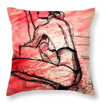 Throw Pillow featuring the painting Take Five  by Jarko Aka Lui Grande