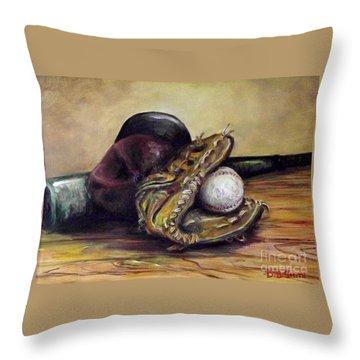 Take Me Out To The Ball Game Throw Pillow by Deborah Smith