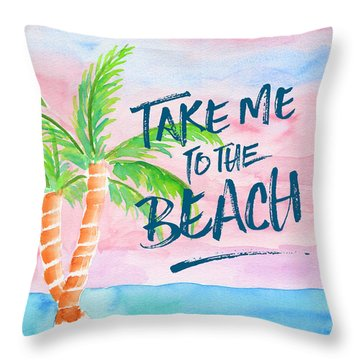 Take Me To The Beach Palm Trees Watercolor Painting Throw Pillow