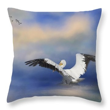 Throw Pillow featuring the photograph Take Off By The Sea by Kim Hojnacki