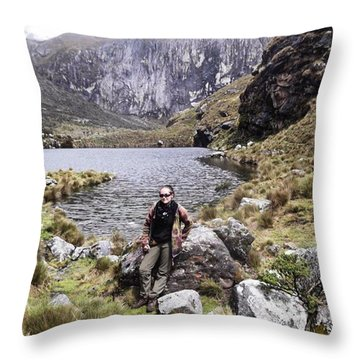 Taking A Breather While Hiking Up In Throw Pillow