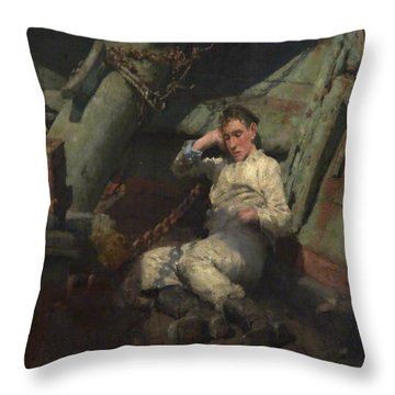 Throw Pillow featuring the painting Taking A Spell  by Henry Scott Tuke