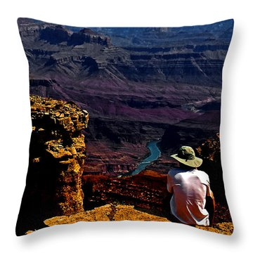 Throw Pillow featuring the photograph Taking In The View - Grand Canyon South Rim by George Bostian
