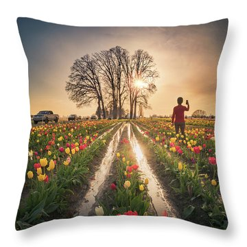 Throw Pillow featuring the photograph Taking Sunset Pictures Using A Mobile Phone by William Lee