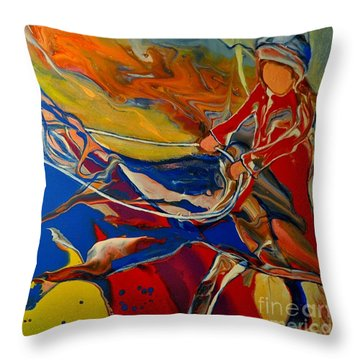 Taking The Reins Throw Pillow
