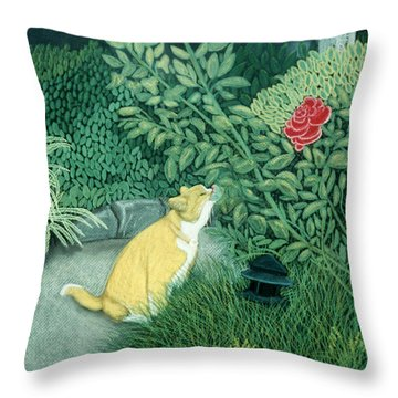 Throw Pillow featuring the pastel Taking Time To Smell The Roses by Jan Amiss