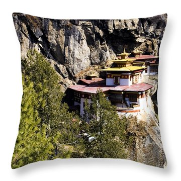 Taktsang Monastery  Throw Pillow by Fabrizio Troiani
