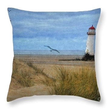 Throw Pillow featuring the digital art Talacre Lighthouse - Wales by Lianne Schneider