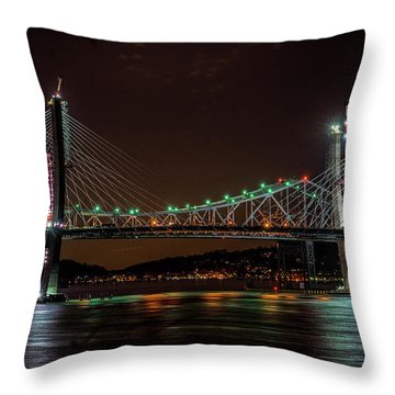 Tale Of 2 Bridges At Night Throw Pillow