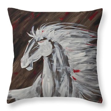 Tale Of The Wind Horse Throw Pillow by Stephane Trahan