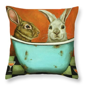 Throw Pillow featuring the painting Tale Of Two Bunnies by Leah Saulnier The Painting Maniac