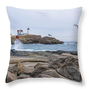 Tale Of Two Lighthouse Throw Pillow