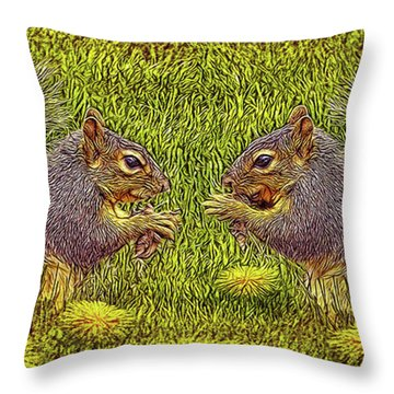 Tale Of Two Squirrels Throw Pillow