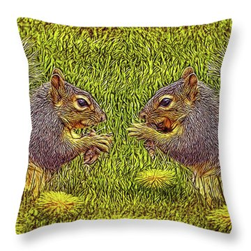 Tale Of Two Squirrels Throw Pillow by Joel Bruce Wallach