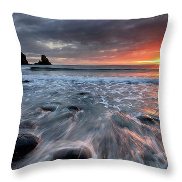 Throw Pillow featuring the photograph Talisker Bay Rocky Sunset by Grant Glendinning