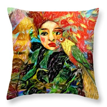 Throw Pillow featuring the digital art Talk To Me by Alexis Rotella