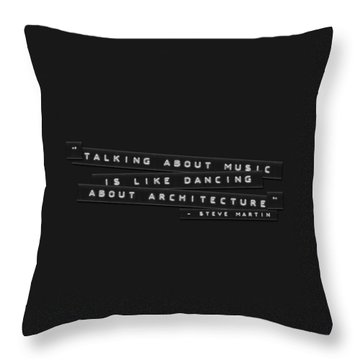 Throw Pillow featuring the photograph Talking About Music Embossed Labels by Brian Carson