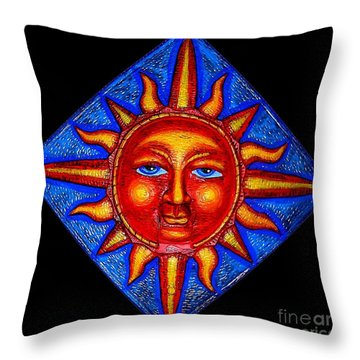 Talking Sun Throw Pillow by Genevieve Esson