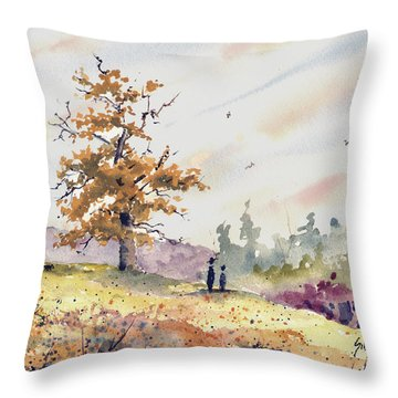Throw Pillow featuring the painting Talking To Dad by Sam Sidders