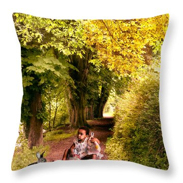 Talking To The Rabbit ... Throw Pillow by Louloua Asgaraly