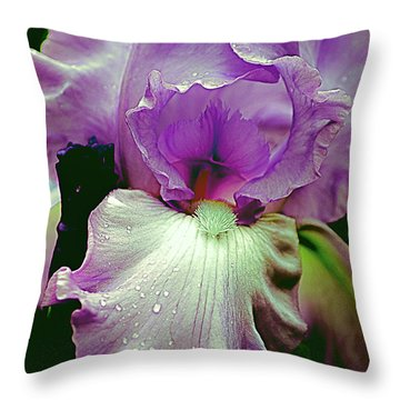 Throw Pillow featuring the photograph Tall Bearded Iris In Lavender by Julie Palencia