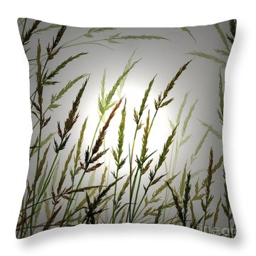 Throw Pillow featuring the digital art Tall Grass And Sunlight by James Williamson
