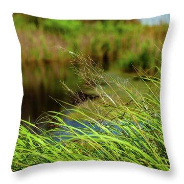Tall Grass At Boat Dock Throw Pillow