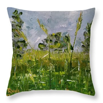 Throw Pillow featuring the painting Tall Grass by Judith Rhue