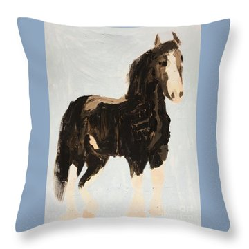 Throw Pillow featuring the painting Tall Horse by Donald J Ryker III