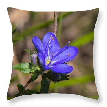 Tall Hydrolea Wildflower Throw Pillow