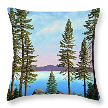 Tall Pines Of Lake Tahoe Throw Pillow