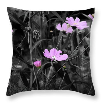 Tall Pink Poppies Throw Pillow