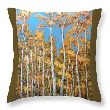Tall Poplars Throw Pillow