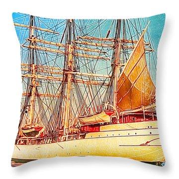 Tall Ship Throw Pillow