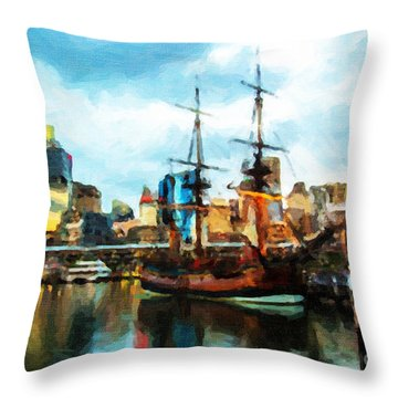 Throw Pillow featuring the painting Tall Ship Darling Harbour by Chris Armytage