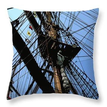 Throw Pillow featuring the digital art Tall Ship Design By John Foster Dyess by John Dyess