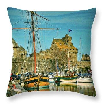 Tall Ship In Saint Malo Throw Pillow