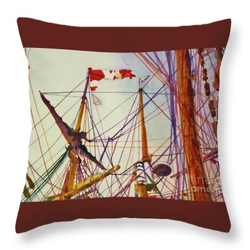 Tall Ship Lines Throw Pillow