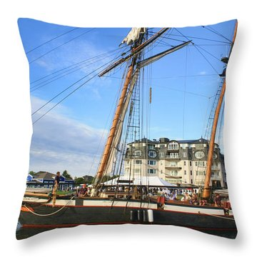 Tall Ship Lynx Throw Pillow by Pat Cook